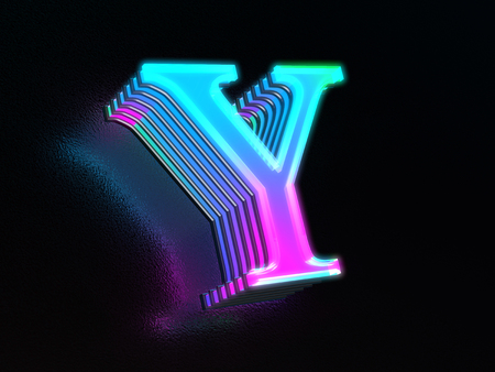 Beautiful colored glass letter Y glowing in the dark