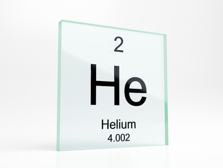 Helium element symbol from periodic table on glass icon - realistic 3D render