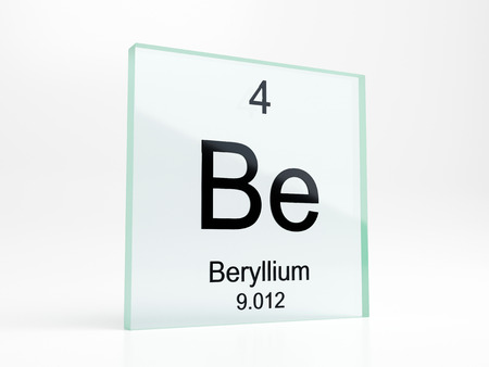 Beryllium element symbol from periodic table on glass icon - realistic 3D render Stock Photo