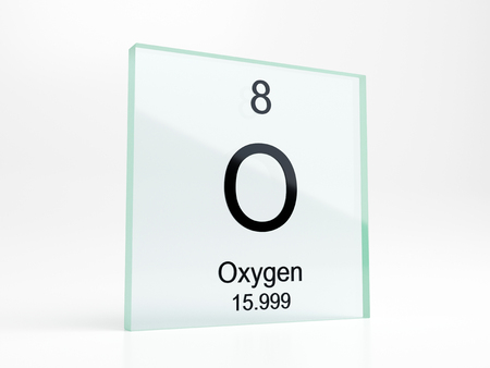 Oxygen element symbol from periodic table on glass icon - realistic 3D render Stock Photo