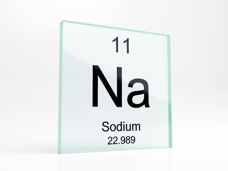 Sodium element symbol from periodic table on glass icon - realistic 3D render