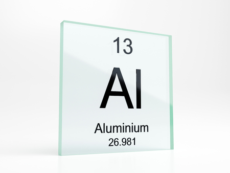 Aluminium element symbol from periodic table on glass icon - realistic 3D render Stock Photo