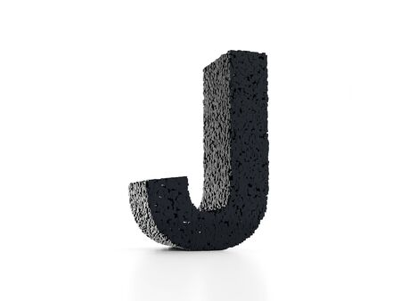 Futuristic letter J 3D - built out of black glossy cubes 3D render Stockfoto