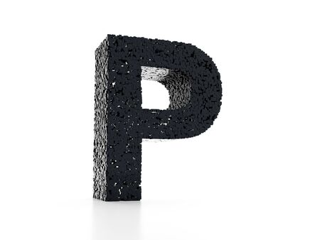 Futuristic letter P 3D - built out of black glossy cubes 3D render Banco de Imagens - 130636703