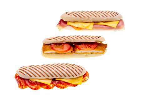 Delicious sandwiches with cheese, ham, salami and meat in three models isolated on white backgorund Stockfoto