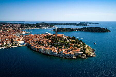 The old town of Rovinj, Istria, Croatia travel destination - beautiful aerial view