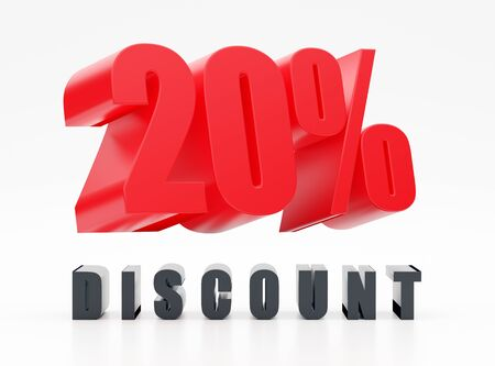 20% discount, red glossy symbol on white background