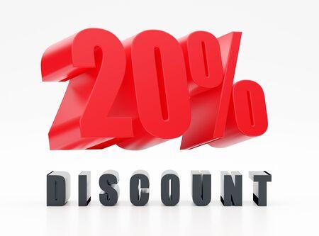 20% Rabatt, rotes glänzendes Symbol auf weißem Hintergrund