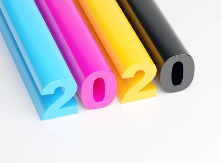 2020 happy new year - CMYK 2020 calendar background Фото со стока