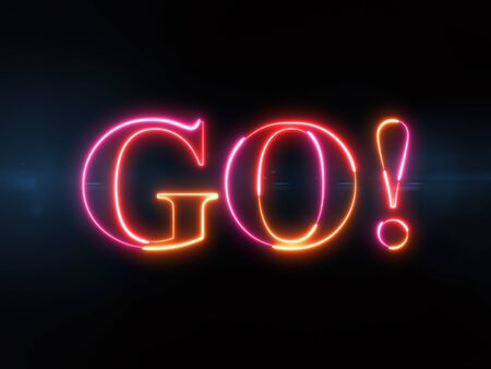Go! - colorful glowing outline text on blue lens flare dark background