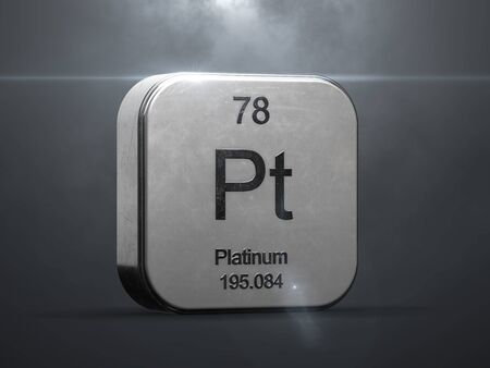 Platinum element from the periodic table. Metallic icon 3D rendered with nice lens flare Stock fotó