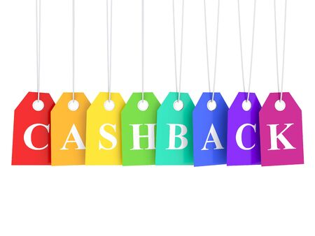 Cashback word on colored hanging etiquette series