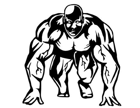cartoons outline: Running bodybuilder
