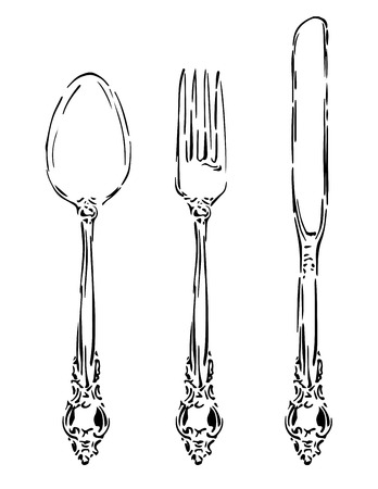eating utensil: Vintage Silverware Illustration