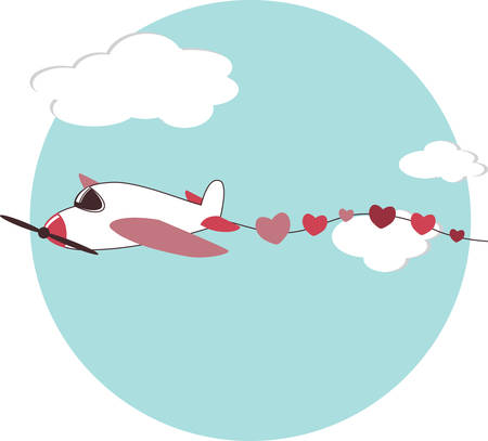 Airplane in fight leading a heart streamer for your special love occasions