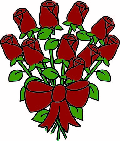dozen: A dozen roses is a traditional way to say I love you.  This bouquet is stunning with the big red bow and long stems.  Makes a lovely way to decorate projects or special occasions. Illustration