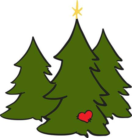 These pretty Christmas trees have a little something special  a tiny heart and star  These designs are fun and easy to stitch and look amazing on holiday apparel.