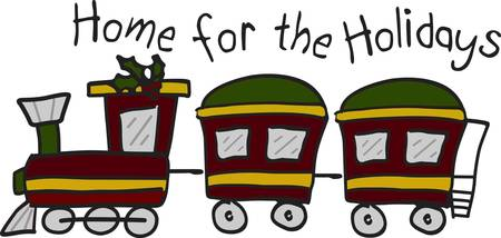 train table: Here comes a train full of gifts and holiday cheer  The shape of this design make it a perfect border for napkins or placemats.  Creates an amazing table setting
