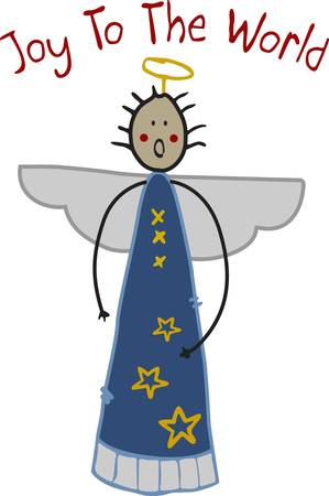 cuteness: This angel sings a Christmas classic and brings a smile.  Use this stick angel to add a touch of holiday cuteness wherever they are stitched. Illustration