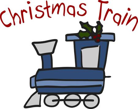 boughs: This is the cutest train engine and it is all decked out with boughs of holly  The fill stitch train outlined with smooth satin outlines just seems to pop off the fabric