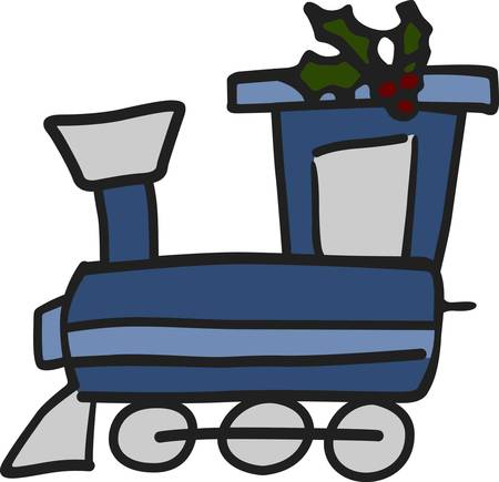This is the cutest train engine and it is all decked out with boughs of holly  The fill stitch train outlined with smooth satin outlines just seems to pop off the fabric