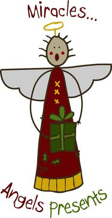 cuteness: This stick angel with a special gift is so cute.  Use this stick angel to add a touch of holiday cuteness wherever they are stitched.