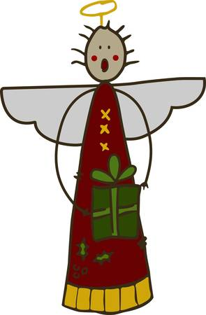 wherever: This stick angel with a special gift is so cute.  Use this stick angel to add a touch of holiday cuteness wherever they are stitched.