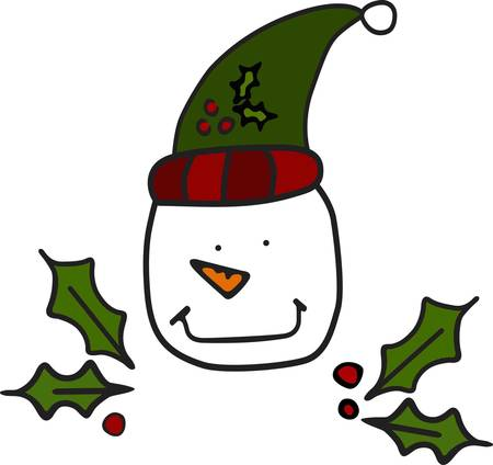 he: A simplistic snowman face as drawn by a child brings out the kid in everyone at Christmas.  He is perfect for any Christmas project sure to be a much used holiday design. Illustration