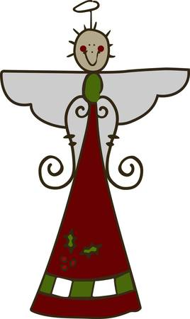 One look at this pretty stick figure angel and you just have to smile  We loe her swirly arms and just a bit of holiday greenery.  Super cute touch for your holiday dcor