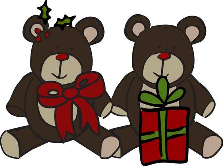 stuffed animal: Teddy bear twins bring a special gift for the holiday season.  We love these guys on baby wear or on a denim holiday shirt.