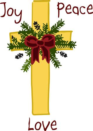 the altar: This holiday cross is a beautiful piece to embellish altar cloths for the Christmas season.  The design is fill stitched creating a silky effect while the greenery adds an element of texture.