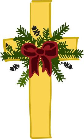 embellish: This holiday cross is a beautiful piece to embellish altar cloths for the Christmas season.  The design is fill stitched creating a silky effect while the greenery adds an element of texture.