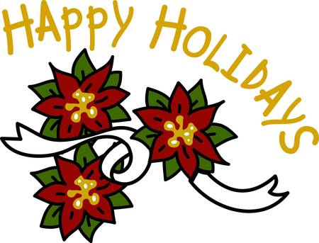 linens: Poinsettias say Merry Christmas in their own elegant way.  This bloom bouquet is the perfect embellishment for your holiday table linens or apparel. Illustration
