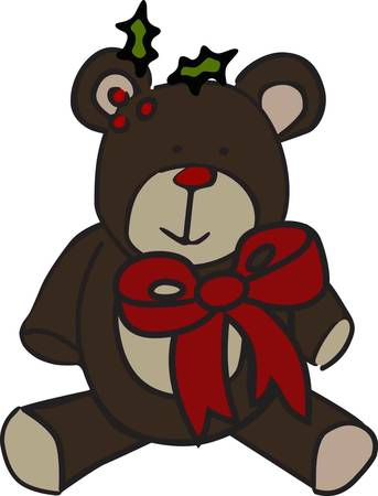 be dressed in: Merry Christmas all dressed up with a bow  There are so many places to stitch this sweet holiday bear he is sure to be a favorite in your collection