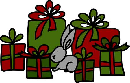 Why not stitch this bunny and his gifts on bags for your holiday gifts.  When you use a cloth gift bag it will become a treasure year used year after year and not added to the trash bin
