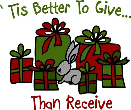 bunny xmas: Why not stitch this bunny and his gifts on bags for your holiday gifts.  When you use a cloth gift bag it will become a treasure year used year after year and not added to the trash bin