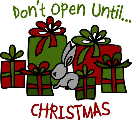 why not: Why not stitch this bunny and his gifts on bags for your holiday gifts.  When you use a cloth gift bag it will become a treasure year used year after year and not added to the trash bin