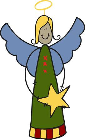 hark: Hark the Harold our angel sings  She adds holiday happiness wherever she is stitched.  We love her as an element on tree skirts.