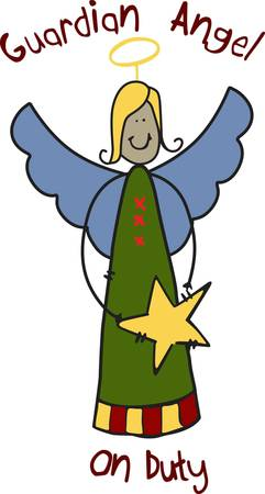 This angel is a beautiful Christmas guardian.  She is perfect to stitch on a nursery door hanger to add holiday flair all over the house