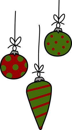 Whimsical ornaments hung with ribbons are a trendy way to add holiday cheer.  Polka dots and stripes make this design a true stand out