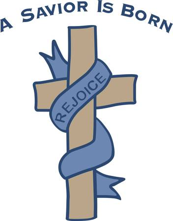 Rejoice is the message of the Easter season.  The cross has patterned fill stitching and the scarf smooth filled to make it appear silky.  Perfect for Easter altar cloths. Illustration