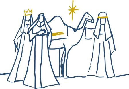 synonymous: This simple scene of the three wise men is synonymous with Christmas.  Add a touch of gold metallic thread and you have created a stunning holiday decoration.