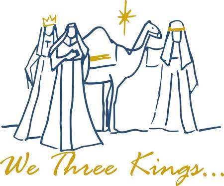 synoniem: Deze eenvoudige scène van de drie wijze mannen is synoniem met kerst. Voeg een vleugje goud metalen draad en je een prachtige vakantie decoratie hebben gecreëerd.
