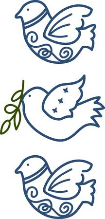 different ways: These three doves in a vertical row can be used so many different ways.  We love them as a vertical border.  Stitch over and over to make a longer border