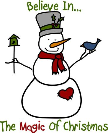 christmas spirit: Even our snowman is in the Christmas spirit of giving with a house for his bird friend.  These friends are sure to become a favorite.  Stitch it on a denim shirt for fun holiday wear Illustration