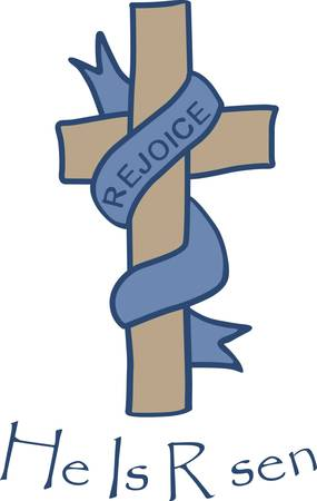altar: Rejoice is the message of the Easter season.  The cross has patterned fill stitching and the scarf smooth filled to make it appear silky.  Perfect for Easter altar cloths. Illustration