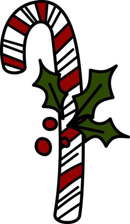 a bough: Sweet holiday wishes come with this yummy candy cane.  The bough of holly makes certain it will be a holiday hit.
