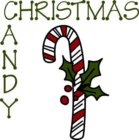 certain: Sweet holiday wishes come with this yummy candy cane.  The bough of holly makes certain it will be a holiday hit.