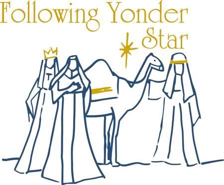 reyes magos: Este simple escena de los tres reyes magos es sinónimo de Navidad. Añadir un toque de oro hilo metálico y que ha creado una impresionante decoración de vacaciones. Vectores