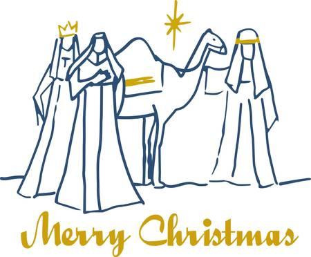 wise men: Este simple escena de los tres reyes magos es sinónimo de Navidad. Añadir un toque de oro hilo metálico y que ha creado una impresionante decoración de vacaciones. Vectores